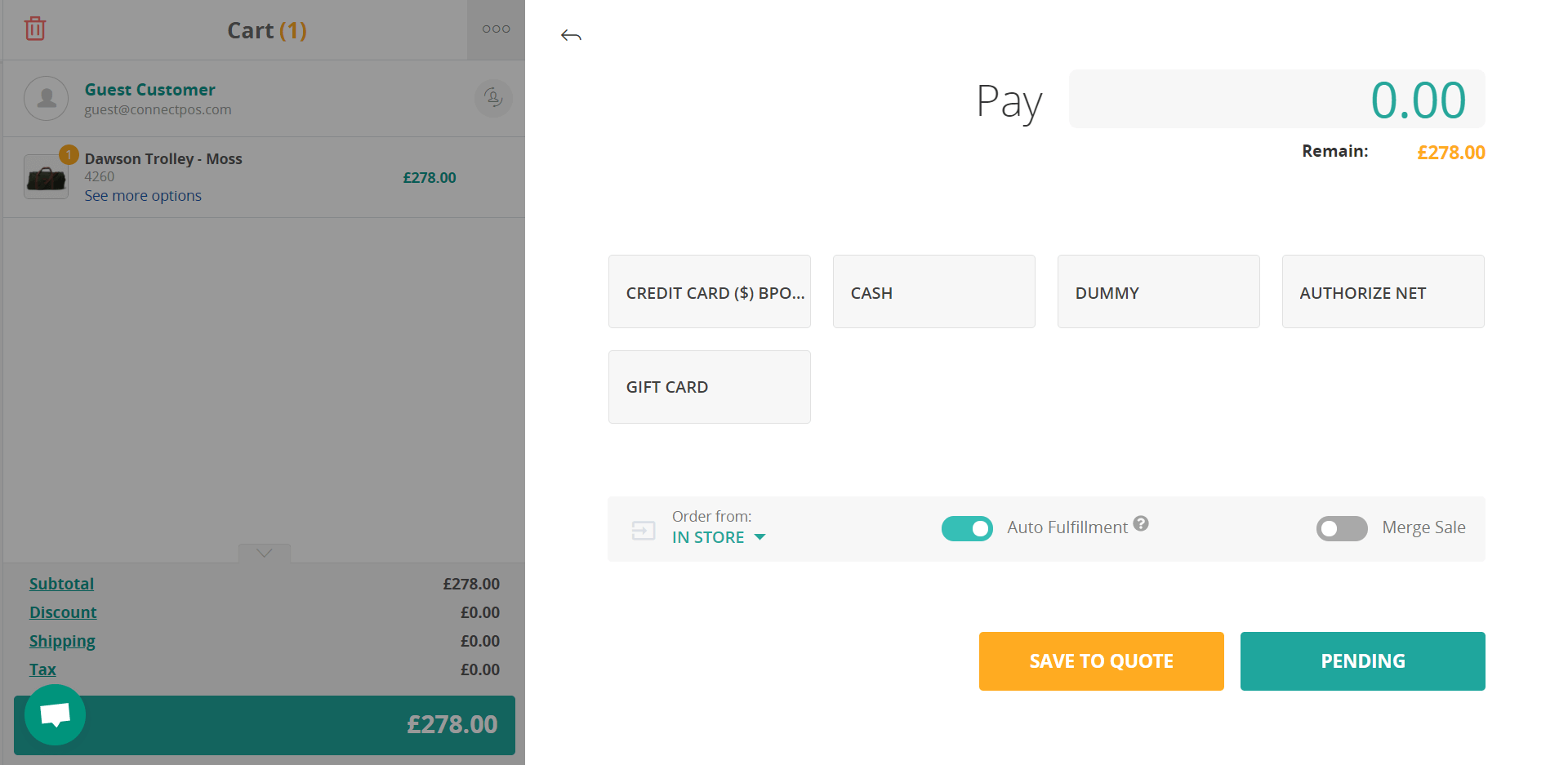 save a quote sell screen