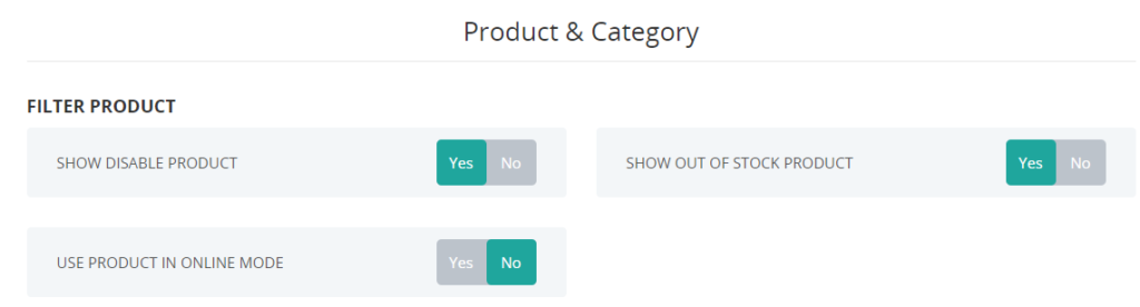 Filtering product type and visibility