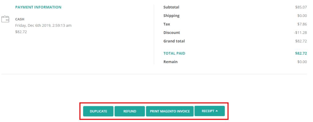 Order Details - Bottom section