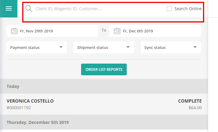 search for an order manually with keyword