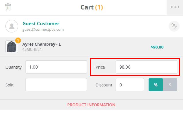Applying custom price
