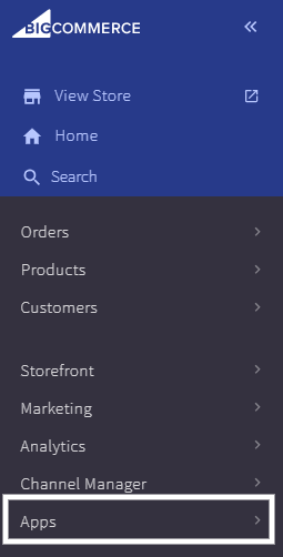 "From your BigCommerce backend, click on ""Apps"""