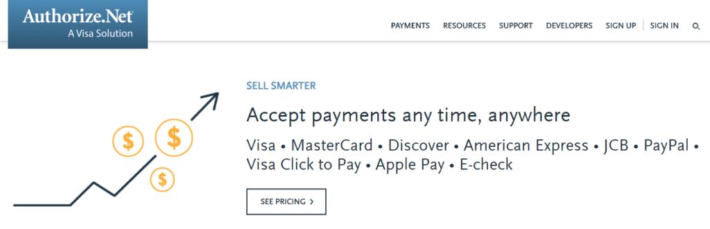 Authorize.Net payment acceptance