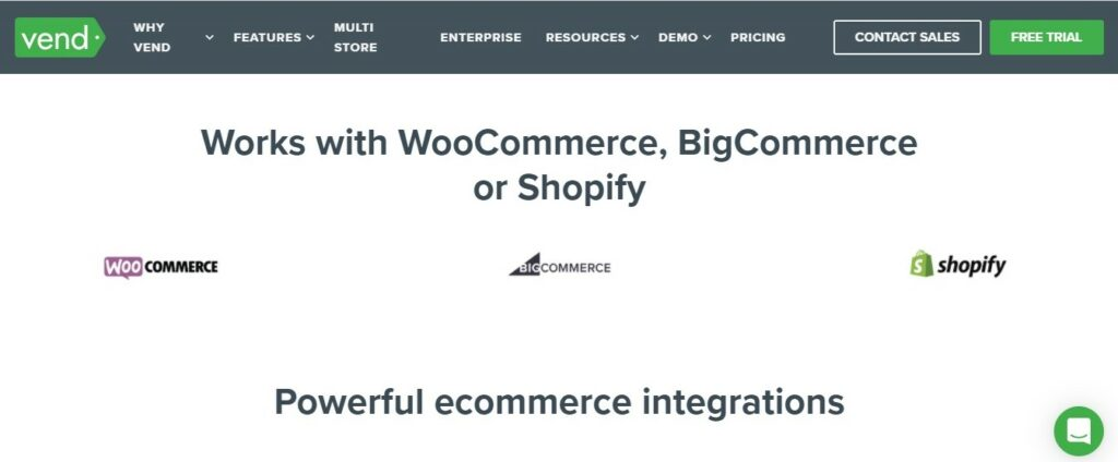 Vend POS and e-commerce platform integration: WooCommerce, BigCommerce. and Shopify