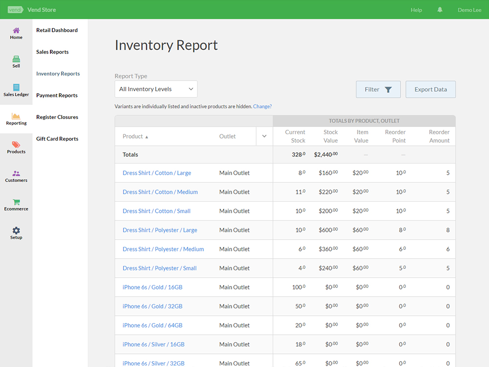 Inventory reports in Vend POS
