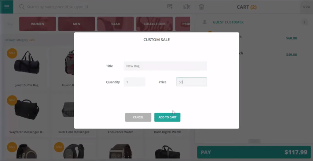 Custom sale feature in POS