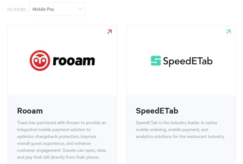 Mobile payment integration in Toast POS