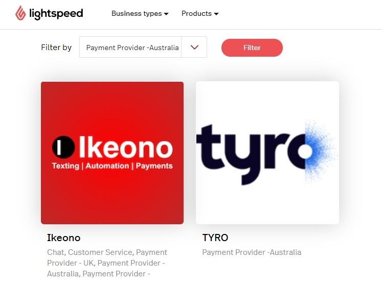 Lightspeed Retail POS's payment providers available in Australia