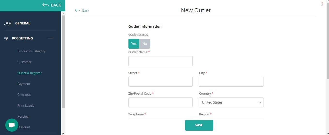 Create new outlet in ConnectPOS