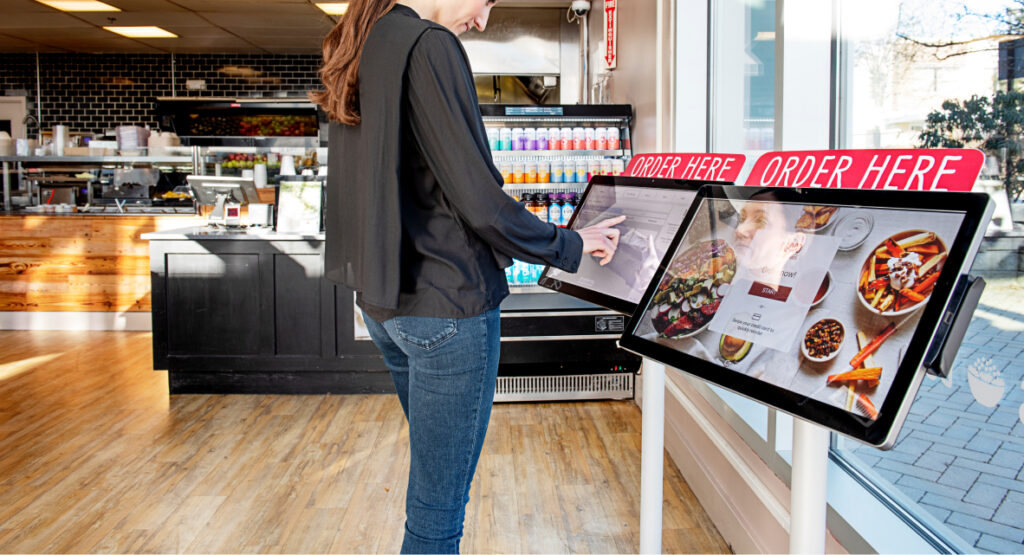 Self-service kiosks compatible with POS