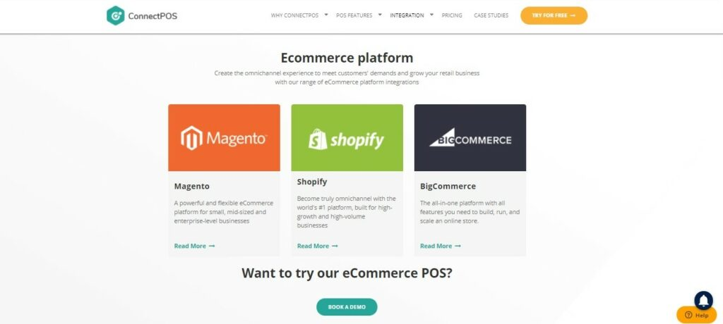 ConnectPOS integrates with 3 well-known e-commerce platforms