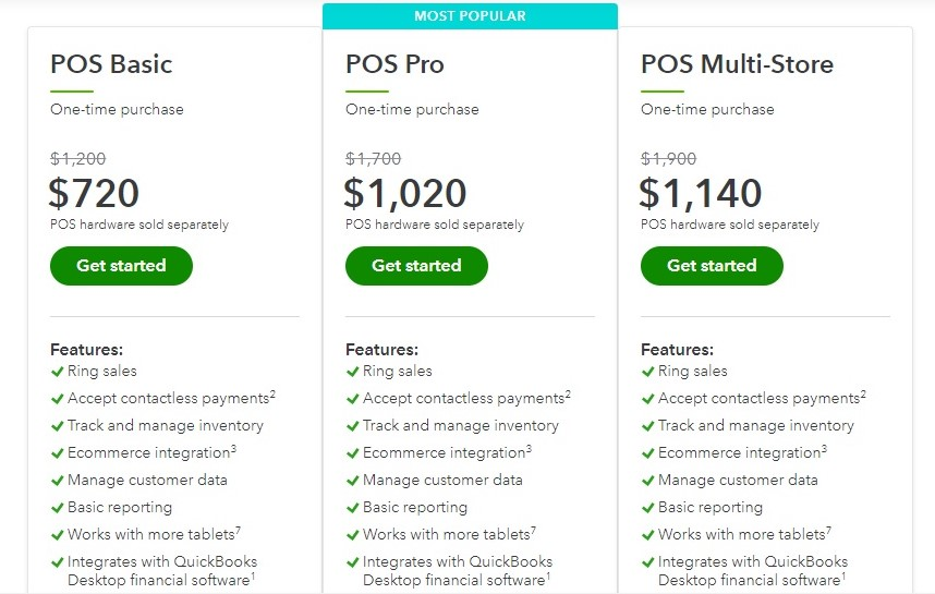 Quickbooks POS pricing plans