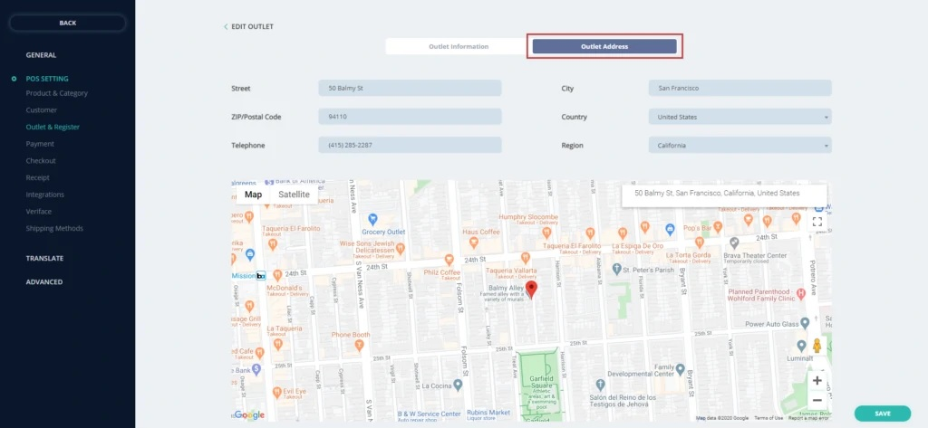 Customers choose the picking up location of their liking conveniently with the Google Map