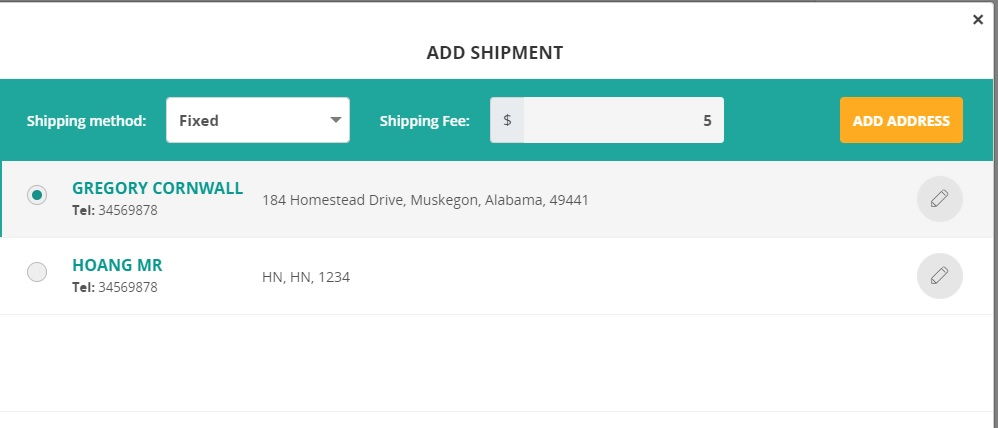 Add shipment in ConnectPOS