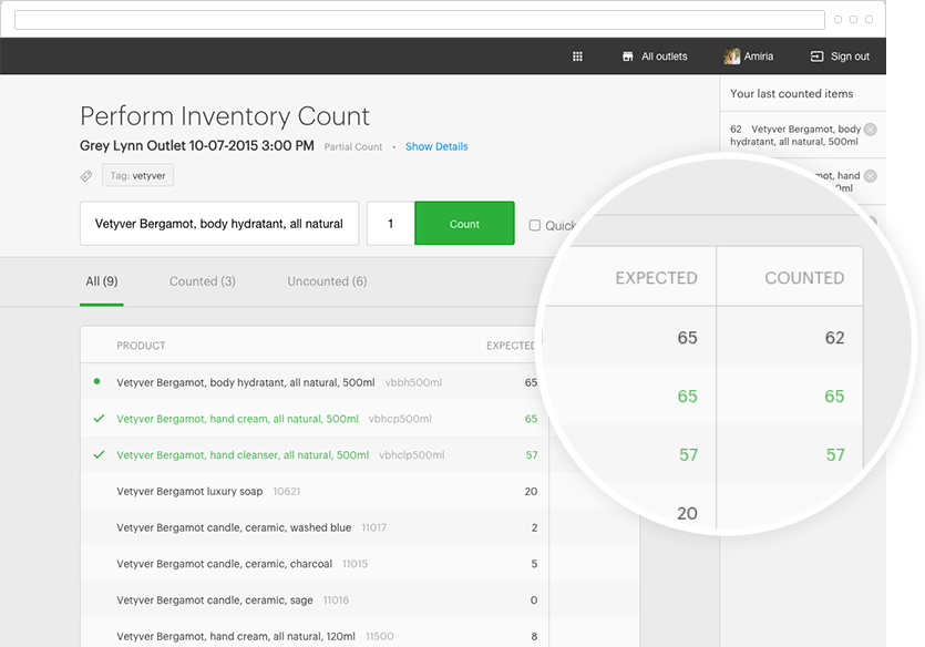 Inventory count in Vend POS