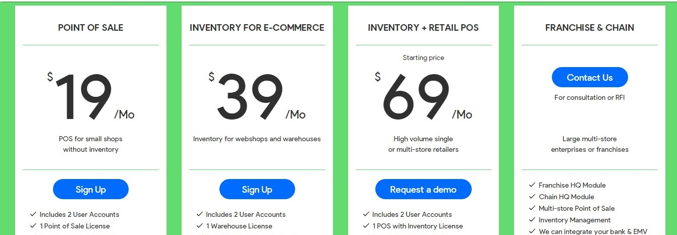 Erply pricing plans