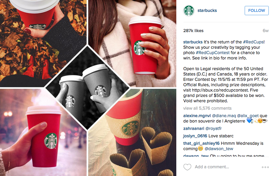 Starbucks's Red Cup contest on Instagram