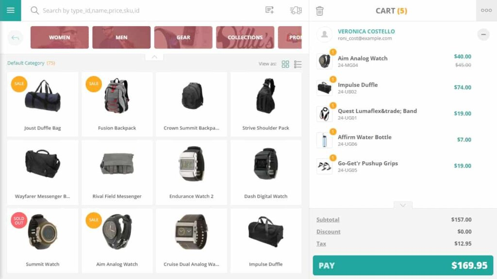 Create orders, do check-out, order out-of-stock items, etc. on a mobile POS system