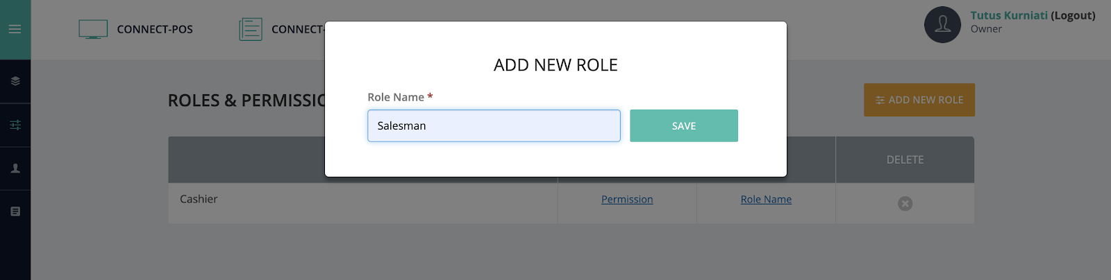 Create a new staff role in POS