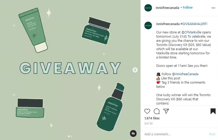 Innisfree is doing a giveaway when opening a new location in Ontario, Canada