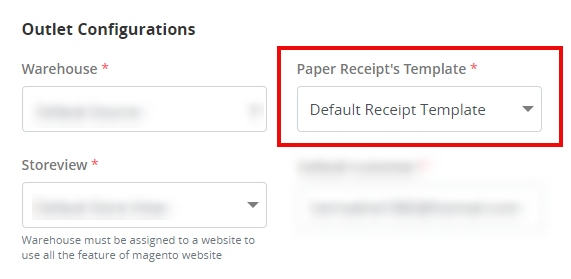 Select receipt template for your store in ConnectPOS
