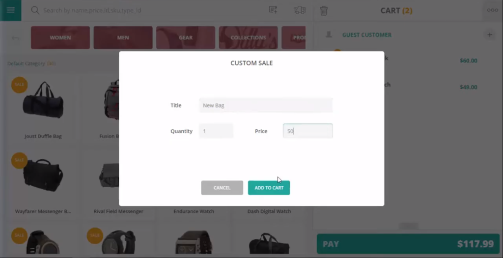 Custom sale in ConnectPOS