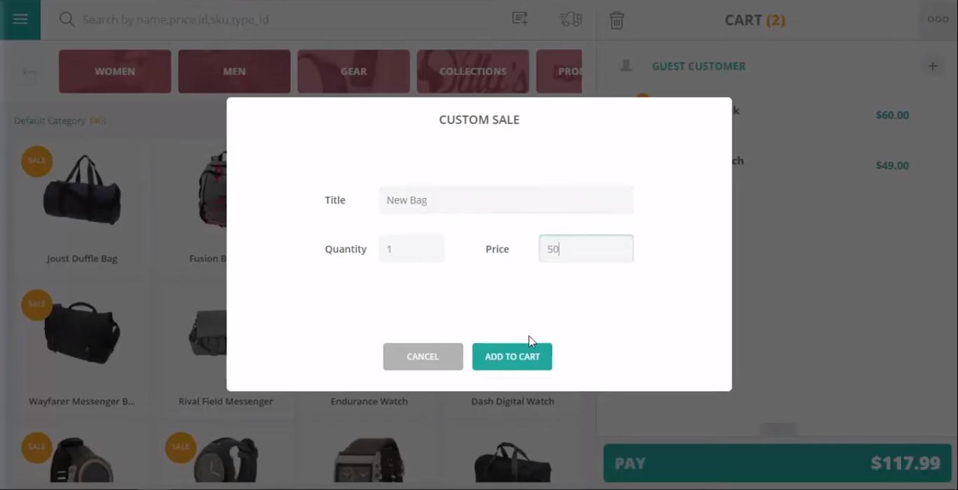 Custom sales feature in POS