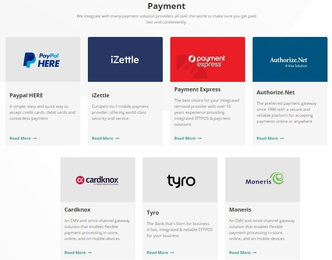 Payment gateways integrated in POS