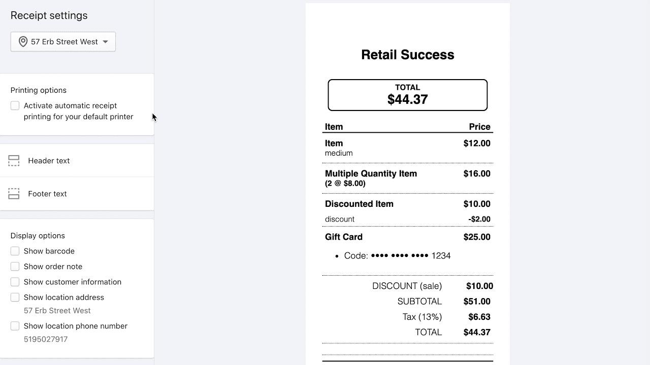 POS receipts customization in Shopify