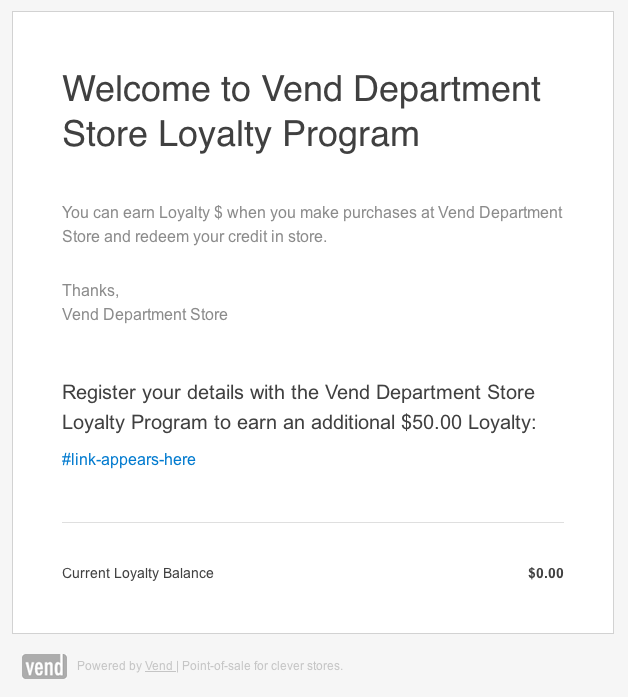 Vend's welcome email