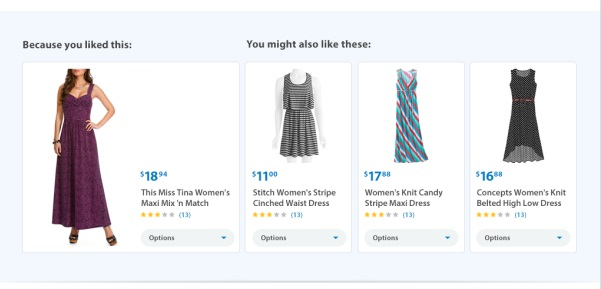 Walmart product recommendations