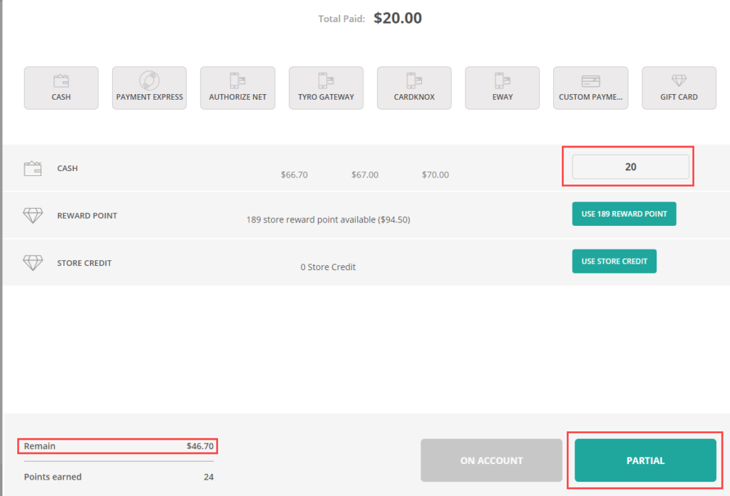 Layaway (partial payment) feature in POS