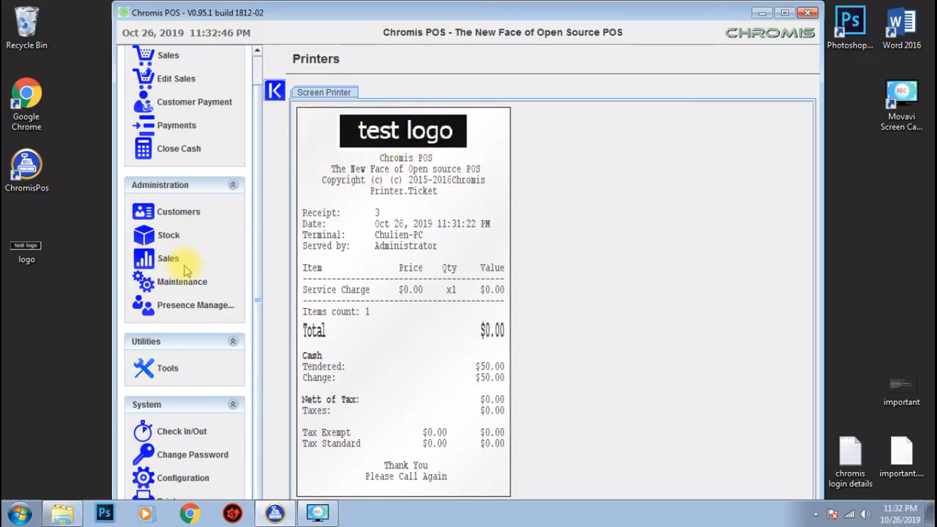 POS receipts customization in Chromis POS