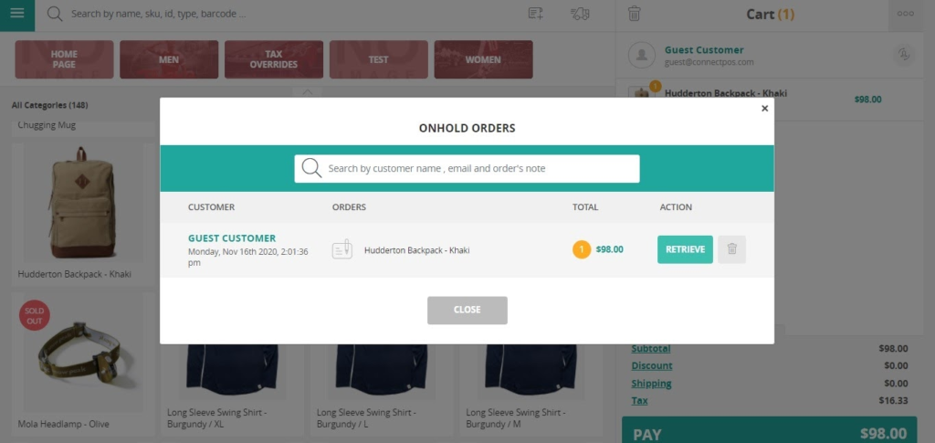 Create draft orders in ConnectPOS
