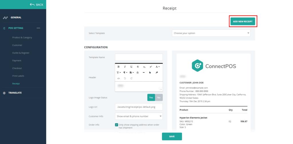ConnectPOS receipt customization