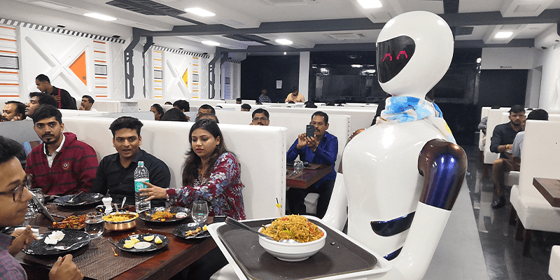 One of the five robot waiters at Robot Restaurant in Bengaluru