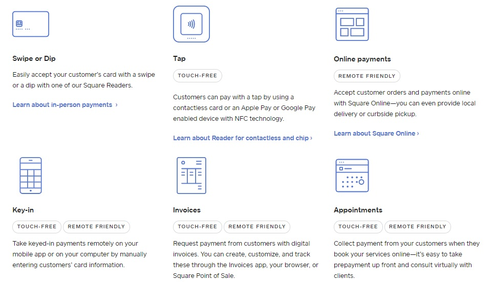 Square payment integrations