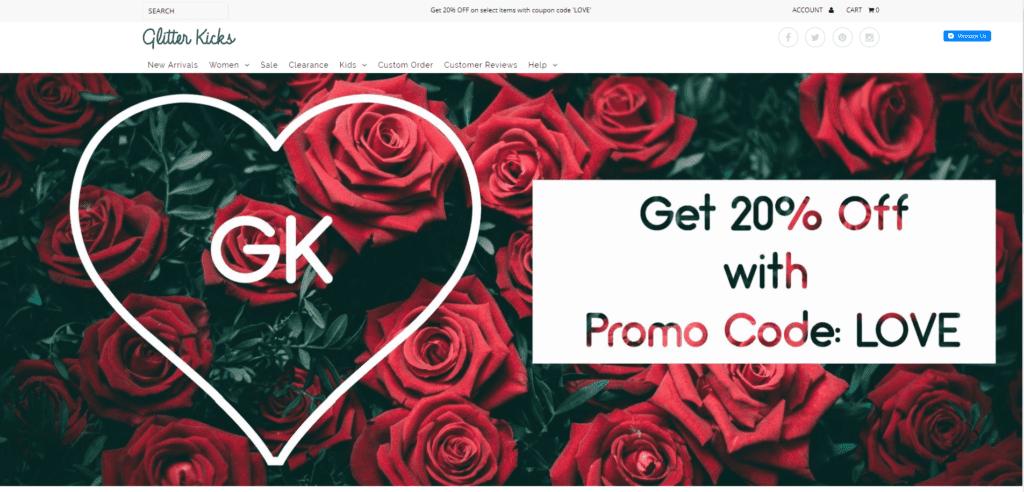 Valentine's Day retail ideas: Valentine's Day banner on website
