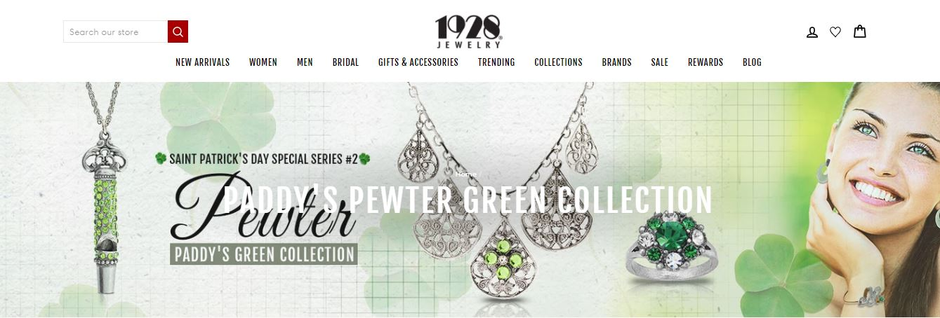 1928 jewelry website for St. Patrick's Day