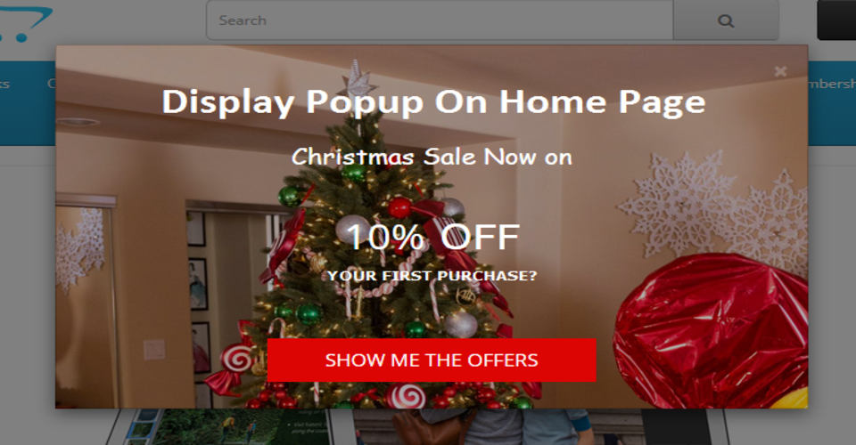 Christmas popup on website
