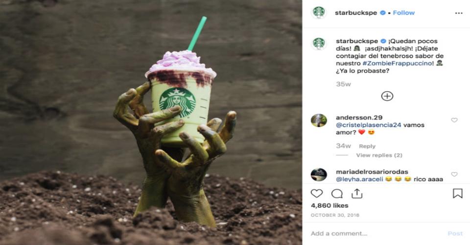 Starbucks' Instagram Halloween-themed post
