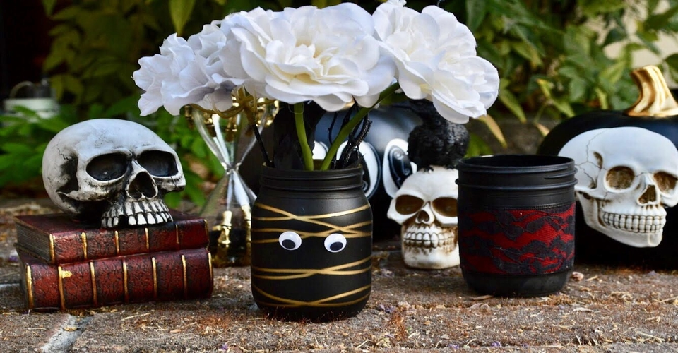 Gothic mason jars for Halloween store decorations