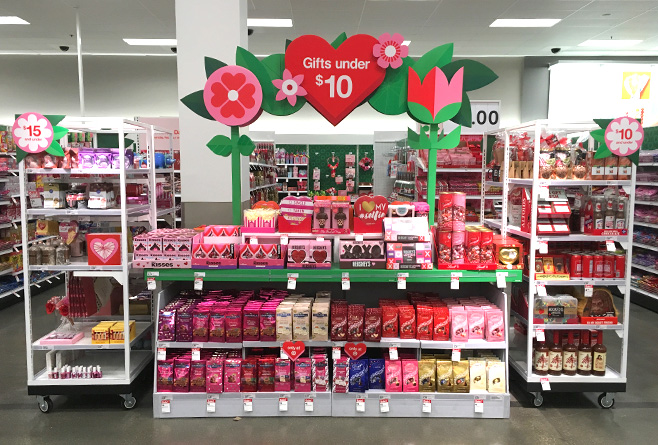 Valentine's Day feature display section in physical store