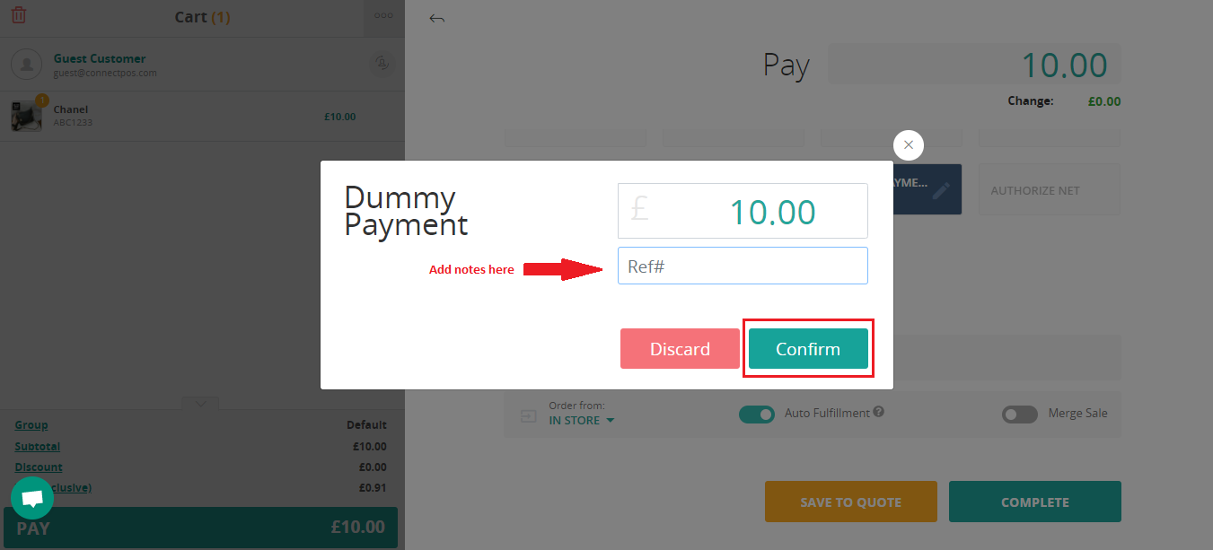 dummy payment