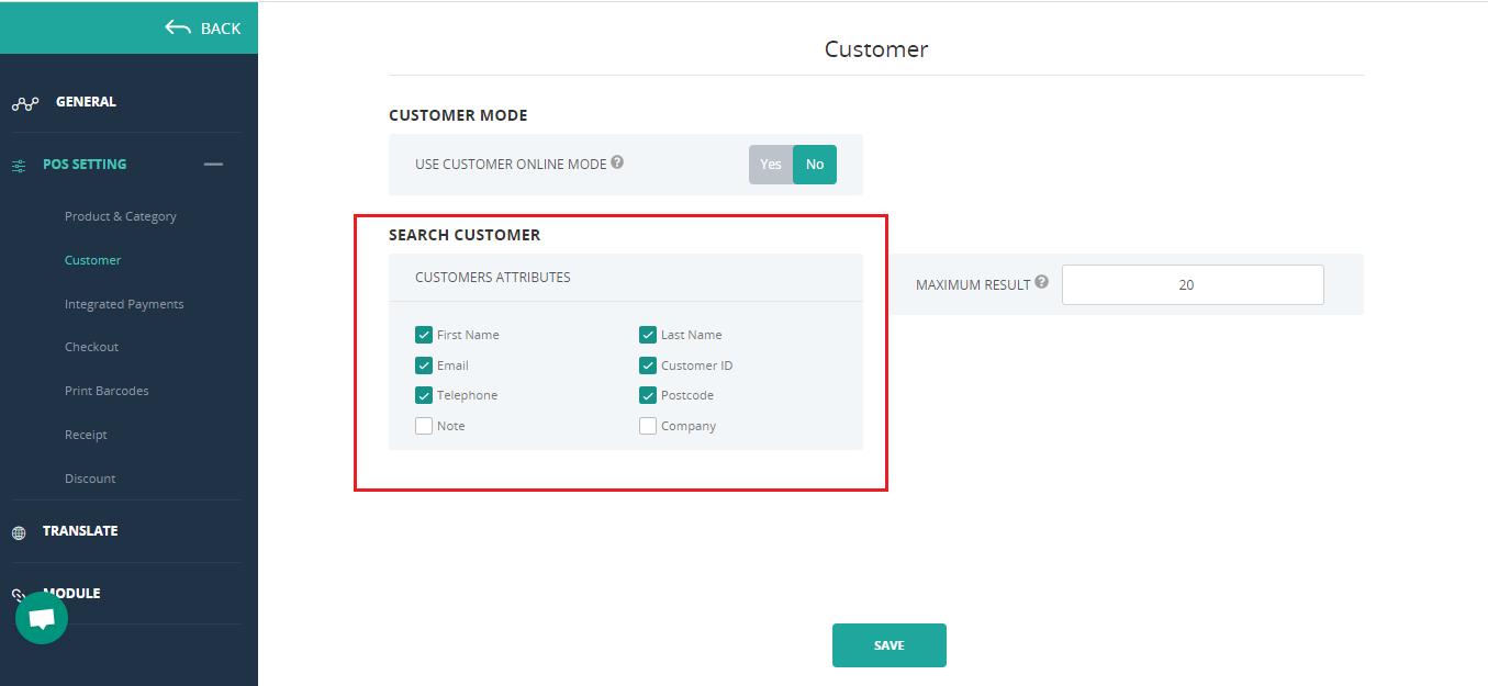 search customer setting