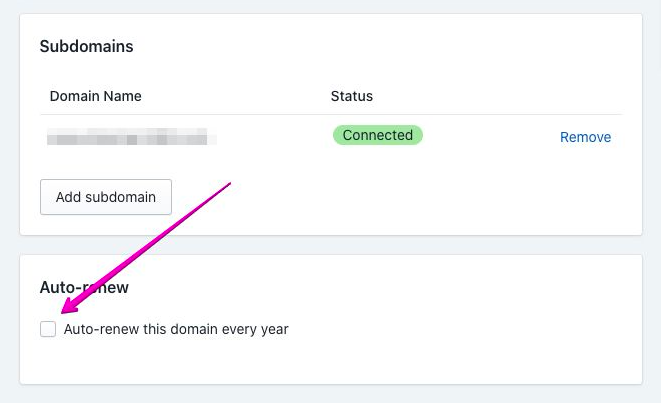 delete Shopify-managed domain