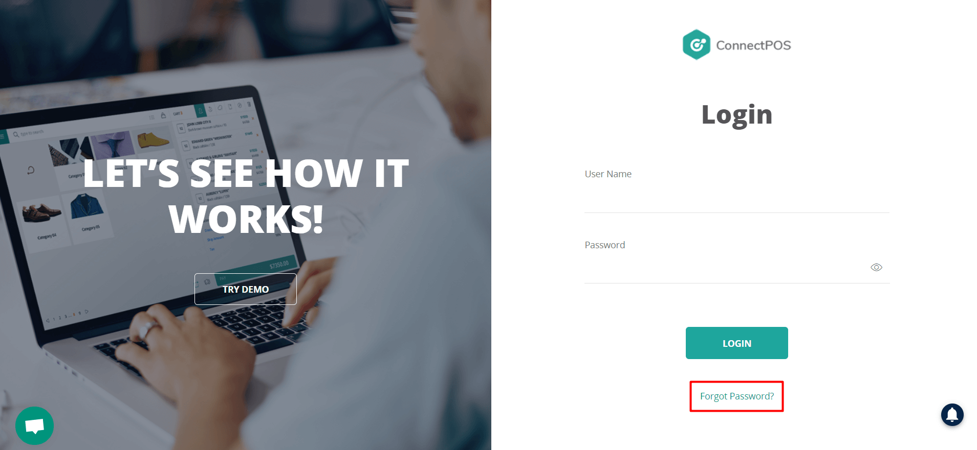 ConnectPOS login page