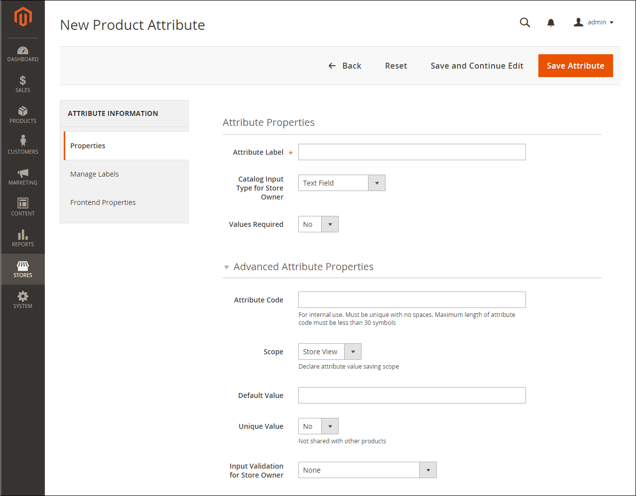 Set up Magento product attributes