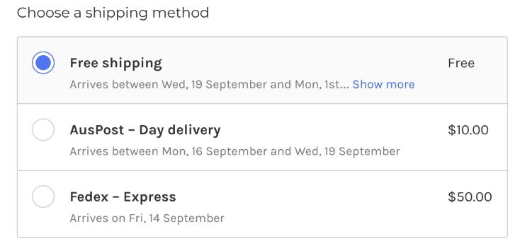 Add shipping methods