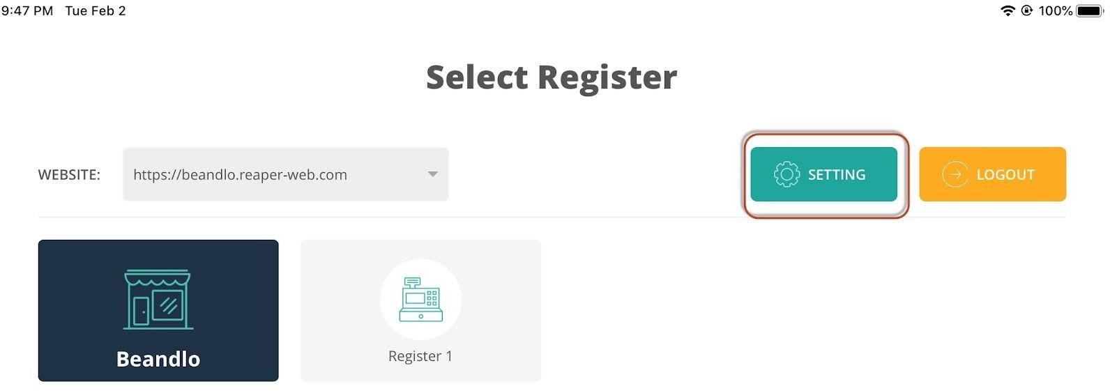 connectpos register screen